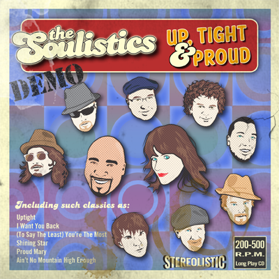 Up, Tight and Proud demo album cover by The Soulistics party, funk, soul, disco, Motown and top 20 band of Salt Lake City, Utah